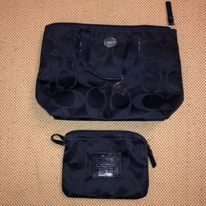 Coach navy blue nylon purse and pouch